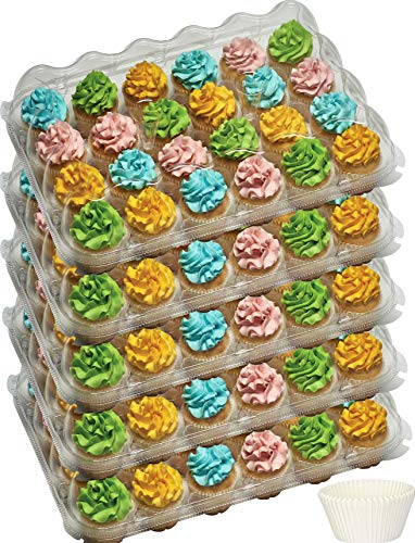 24 Compartment cupcake containers plastic disposable Cupcake Boxes muffin carrier - Great for high topping - 5 pc. - 24 slot each - Plus White standard size baking cups.