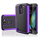 TILL LG K7 Case, LG Tribute 5 Case, [Resilient Series] Shock Absorbing Dual Layer Hybrid Rubber Plastic Impact Defender Rugged Slim Hard Case Cover Shell for LG Tribute 5 / K7 All Carriers [Purple]
