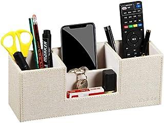 جعبه ذخیره سازی لوازم التحریر دفتر کار چند منظوره چرم دارنده چرم با 4 کارت / قلم / مداد / کنترل از راه دور / تلفن همراه / لوازم التحریر / جعبه ذخیره ابزار (بژ)