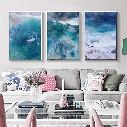 AdoDecor Pintura de la Pared del Arte de la Tinta de la concepción artística de la Sombra de la Acuarela Azul Abstracta Cartel de la impresión Moderna 60x80cmx3 sin Marco