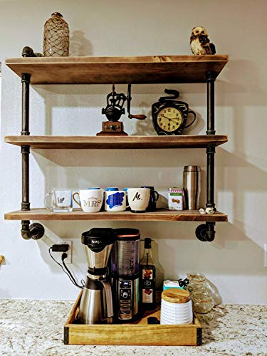 AZ L1 Life Concept AZL1 Life Concept Industrial Pipe Bookcase Wall Shelf,Rustic Floating Wood Shelving (24''), 24 inch, Brown