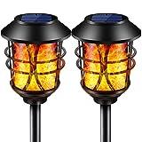 SOLARMKS ソーラーライト,金属のちらつき火炎ガーデンライト、96電球内蔵, 屋外用 庭の パティオ IP65防水 電池不要 省エネ 自動点灯消灯, 2個セット