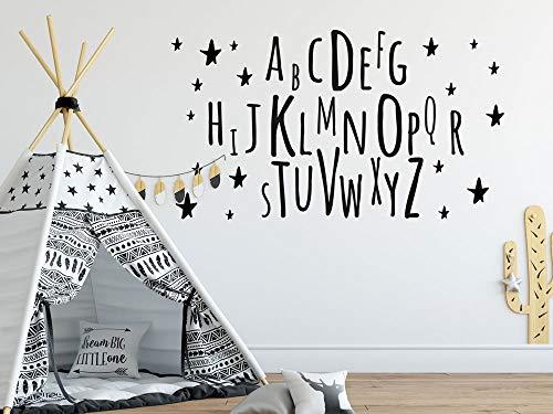 GRAZDesign Buchstaben Wandtattoo mit Sternen für Mädchenzimmer Jungs - Kinderzimmer Alphabet ABC / 52x30cm / 073 dunkelgrau