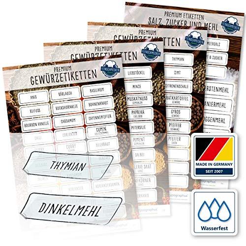 117 Gewürze Etiketten Aufkleber - eckig - transparent - Gewürzetiketten selbstklebend - wasserfest - Gewürz Sticker 52 x 20 mm und 65 x 25 mm - für Gewürzgläser, Dosen und Regale - Edition XL