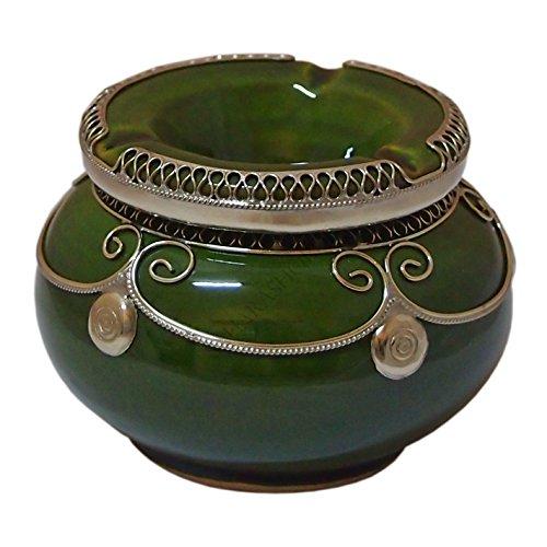 Unbekannt Marokkanischer Windaschenbecher Keramik Olivgrün