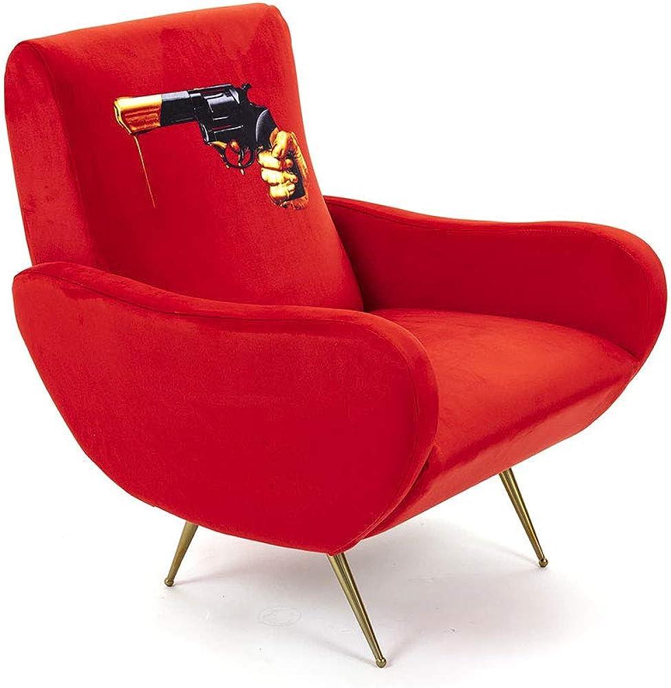 seletti toiletpaper armchair revolver, poltrona con decoro pistola,in poliestere,metallo e legno 16089
