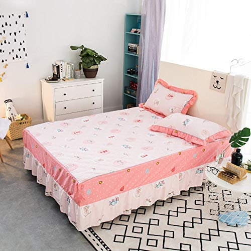 JRDTYS Easy Care Soft Brushed Microfiber Fabric -Shrinkage and Fade ResistantCotton bed skirt with lace protective cover-02_180*200cm