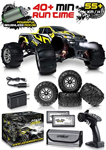 1:16 Brushless Large RC Cars 55+ kmh Speed - Kids and Adults Remote Control Car 4x4 Off Road Monster Truck Electric - All Terrain Waterproof Toys Trucks for Boys, Girls - 2 Batteries for 30+ Min Play