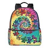 HAKAXI Grate-Ful Dead Dancing Bears Fashion KEONSEN Backpack Travel Laptop Bag Waterproof Backpacks for Hiking School Bookbag Black, One Size