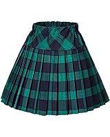 Urban CoCo Women's Elastic Waist Tartan Pleated School Skirt (Small, Series 5 Green)