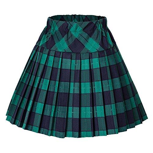 Urbancoco Damen Schulmädchen-Stil Tartan Skater Röcke (#5 grün, XL)