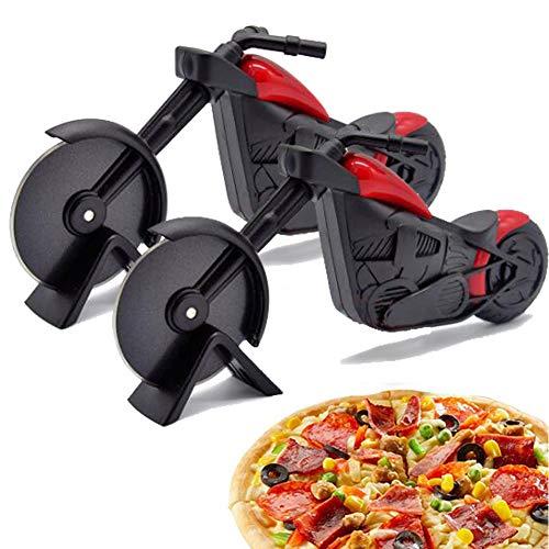 WENTS Motorrad Pizzaschneider 2pcs Edelstahl Kunststoff Pizzaroller, Pizzarad als schöne Dekor für Pizzaparty usw, (21,5 * 8,5 cm, schwarz)