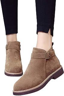 26cf2188 Botas Cortas para Las Mujeres Planas, Zapatos de Punta Redonda Botines  Planos de