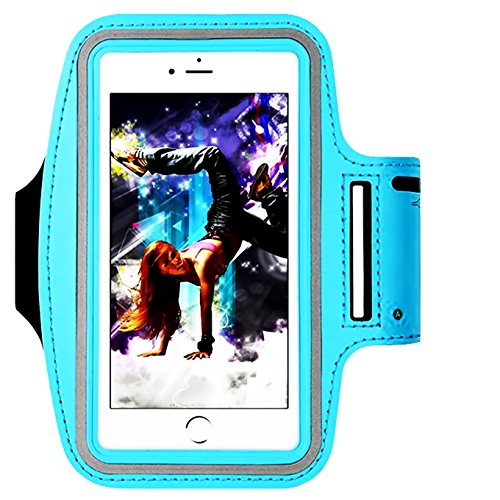 Water Resistant Sports Armband,iEugen Universal up to 6.5 Inch with Key Holder for iPhone XR X XS MAX 8 Plus, 7 Plus, 6 Plus, 6S Plus (6.5-Inch), Galaxy S9/S8/S6/S5, S9 Plus, S8 Plus, Note 4 -SkyBlue