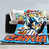 Sonic The Hedgehog Soft Plush Fleece Throw Blanket for Bed Couch and Sofa Featuring Sonic and Tails [45 x 60 inches] for Kids and Audits House Warming Gift with auto Decal Featuring Sonic