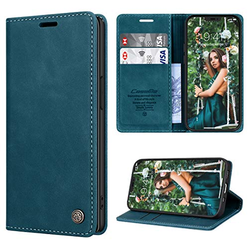 RuiPower Funda para iPhone 12 Mini con Tapa Funda para iPhone 12 Mini Libro Fundas de Cuero PU Premium Magnético Tarjetero y Suporte Silicona Carcasa para iPhone 12 Mini (5.4'') - Azul-Verde