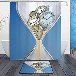 GULTMEE Bathroom Rug Mat Shower Curtain 60 x 72 Non-Slip Set of 2, Hourglass Time Clocks with Sand Decorations for Home A Vintage Design