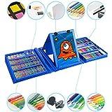W.KING Crayones Dibujo a lápiz Conjunto, 176 Piezas de Kit de Tipo carácter con lápices de Colores lápiz Skizzierstifte Borrador de lápiz de Grafito lápices de carbón afilador en la Bolsa Caja,Azul