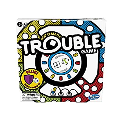 Trouble Board Game Pop-o-Matic Dice Roller Includes Power Die and Shield to Amp Up The Fun, Game for Kids Ages 5 and Up, 2-4 Players (Amazon Exclusive)