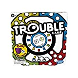 INCLUDES 2 DICE: This Trouble game amps up the fun with a number die and a symbol die in the Pop-o-Matic dice roller; the symbol die gives players a boost of power for moving their pegs around the board DON'T GET BUMPED BACK: This edition of the game...