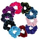 Faburo 10 Stück Samt Scrunchies Bunte Haargummis Mädchen Elastisch Haarband mit 36 Haarnadeln Haarschmuck für Frauen Mädchen