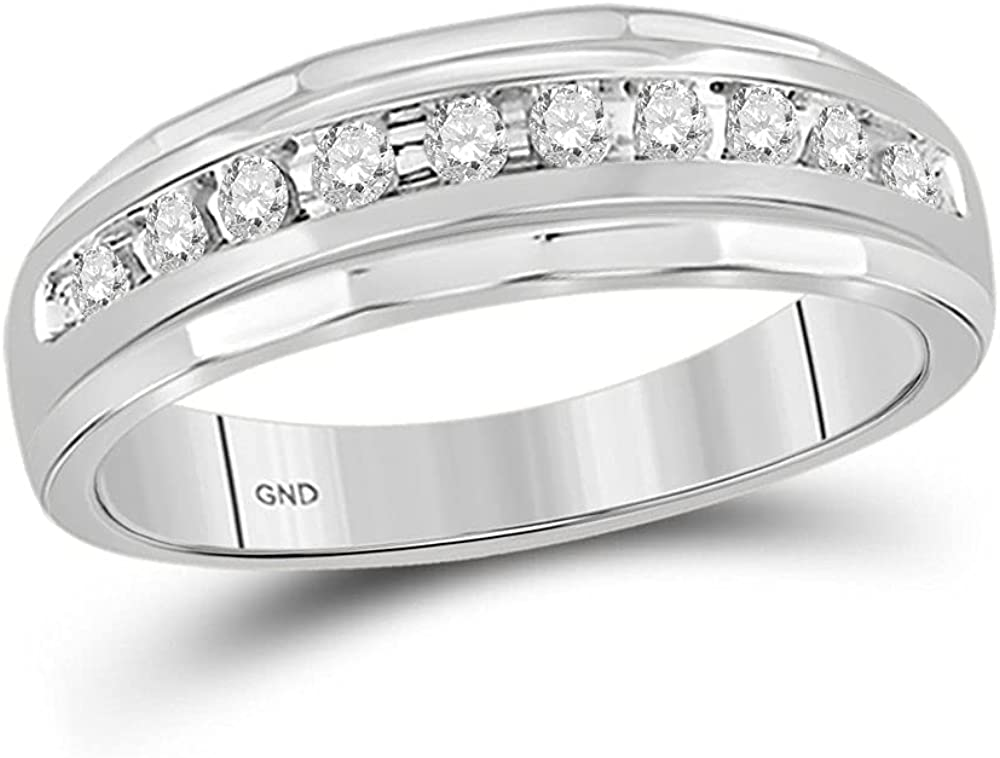 14kt White Gold Mens Round Diamond Cttw Band 4 1 70% OFF Outlet Regular discount Ring Wedding