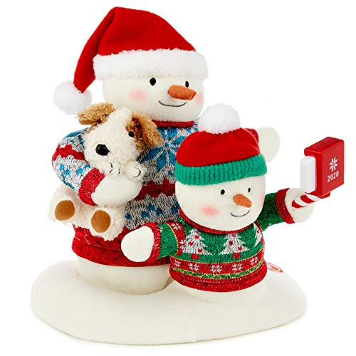 Hallmark Cozy Christmas Selfie Techno Snowman 2020 Singing Stuffed Animal with Light and Motion, 9.5'