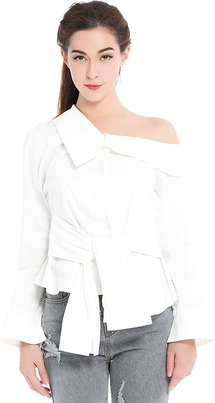Mallda Women' s Off The Shoulder Long Sleeve Asymmetric Hem Waist Tie Top Shirt White