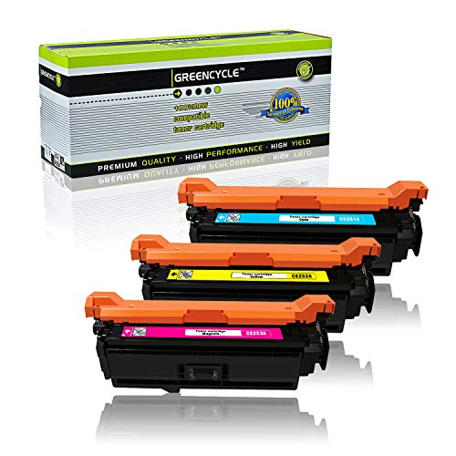 GREENCYCLE Compatible for HP 504A CE251A CE252A CE253A Cyan Magenta Yellow Toner Cartridge Set for Color Laserjet CP3520 CM3530 CM3530fs CP3525 CP3525dn CP3525n CP3525x CP3530 Printer (3 Pack)