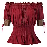 Belle Poque Women's Steampunk Victorian Blouse Top Retro Vintage Bare Shoulder Short Sleeve Lace Ruffle 100% Cotton - Red - S