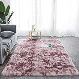 Tapis Salon Shaggy - Descente de lit Chambre Grande Taille Tapis Poils Longs Moderne tapid Moquette Poil Long tapi (Rose foncé avec Motif, 200 x 300 cm)