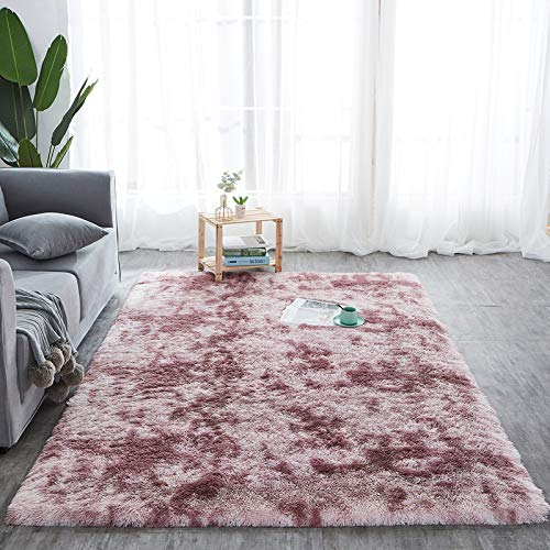 Amazinggirl Hochflor Teppich wohnzimmerteppich Langflor - Teppiche für Wohnzimmer flauschig Shaggy Schlafzimmer Bettvorleger (120 x 160 cm, Dunkelrosa mit Muster)