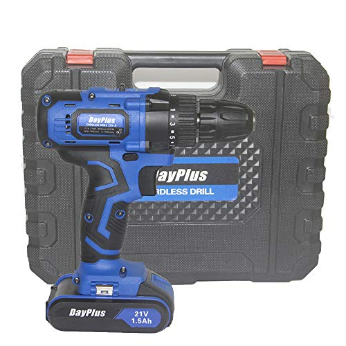 Electric Cordless Drill Brushless 21V screwdriver 3/8' 1400 RPM Drill Driver with Battery Charger and Tool Box