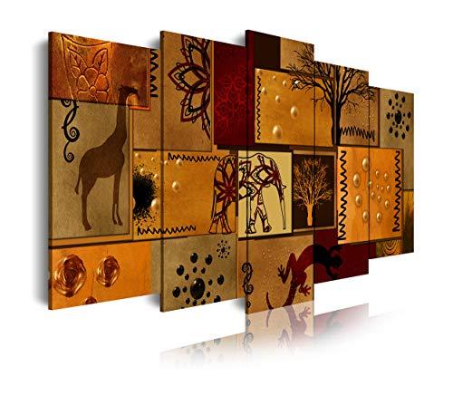 DekoArte 492 - Cuadros Modernos Impresión de Imagen Artística Digitalizada | Lienzo Decorativo Para Tu Salón o Dormitorio | Estilo Abstacto Africano Étnico en Tonos Marrones | 5 Piezas 200x100 cm XXL