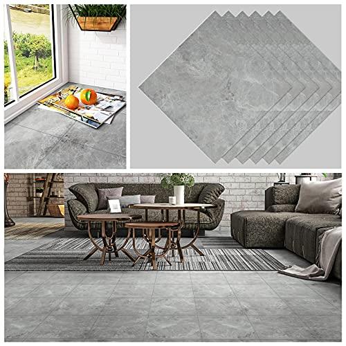 CHICHOME Peel and Stick Floor Tile Grey Marble Floor Tile 12''x12'' 6 Pcs Floor Tiles Self Adhesive Removable Decorative Tile Thickened Wear-Resistant Waterproof for Floor Bedroom Bathroom Kitchen