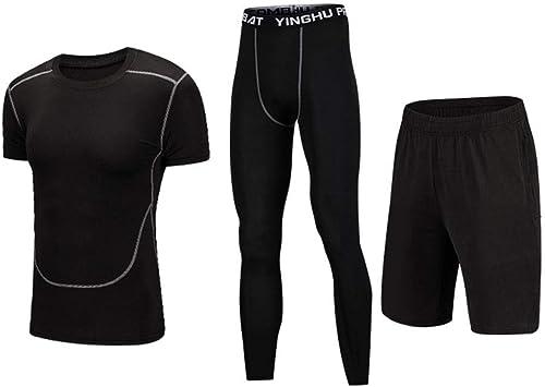 Ensemble de vêteHommests de fitness pour hommes Ensemble de sport 3 hommes à séchage rapide pour hommes de la mode de compression avec un pantalon serré, T-shirt à hommeches courtes de compression, courte V
