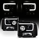 For 2005-2007 Ford Pickup F250 F350 F450 Superduty Black LED Tube Projector Headlights Left+Right Pair