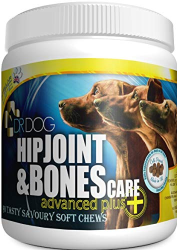 DR DOG Dogs Joint Supplement Hip & Joint – Bacon Flavoured Joint Chews for Dogs – Chondroitin and Glucosamine for Dogs over 12 Weeks – 90 Cold Pressed Natural Dog Joint Supplements – Made in the UK