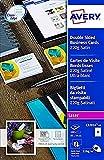 Avery C32016-10 - Tarjetas de visita para impresoras láser de color y monocromáticas (100 unidades, bordes suaves y aspecto satinado, 220 g/m², 85 x 54 mm)