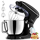 Stand Mixer, 8.5Qt Tilt-Head Food Mixer 660W 6+P Speed Kitchen Stand up Mixers Cwiim, with Dough Hook, Flat Beater, Whisk, Splash Guard, for Baking Bread Cake Cookie Pizza Salad Egg (Black)