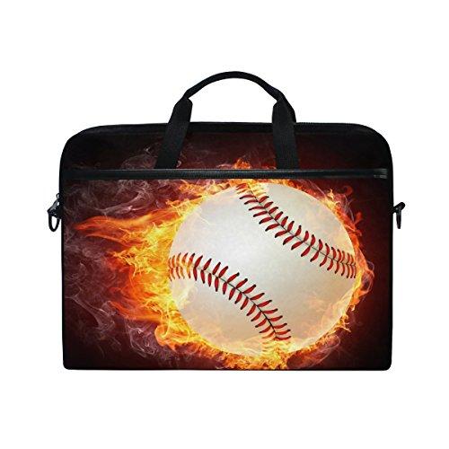 ALAZA Baseball Fire Brown 15 inch Laptop Case Shoulder Bag Crossbody Briefcase Messenger Sleeve for Women Men Girls Boys with Shoulder Strap Handle, Back to School Gifts for Her Him