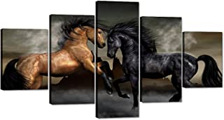 Yatsen Bridge Horses Posters and Prints Modern Landscape Painting Pictures Wall Art for Living Room, Home Decor Gallery-Wrapped Canvas Art 5 Piece Set Framed Ready to Hang (60''W x 32''H)