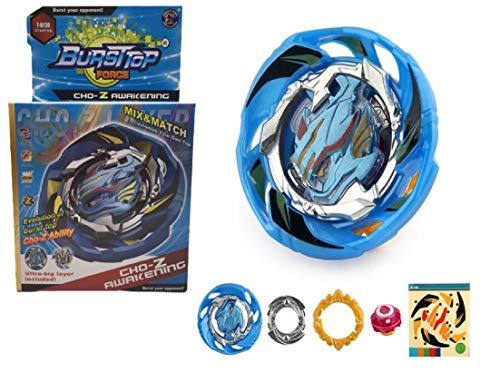 JANUARY peonzas Estilo Bey Burst Blade con lanzadores de Mano peonza Juguete con Lanzador de Mano Espada (Azul)