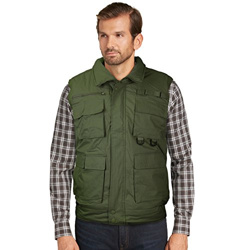 vkwear Men's Multi Pocket Zip Up Military Fishing Hunting Utility Tactical Vest (2XL, Green)