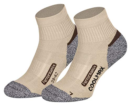 Coolmax Lot de 2 paires de chaussettes fonctionnelles courtes Noir/anthracite/bleu pétrole Taille 35-38 39-42 43-46 47-50 - Beige - 43-46