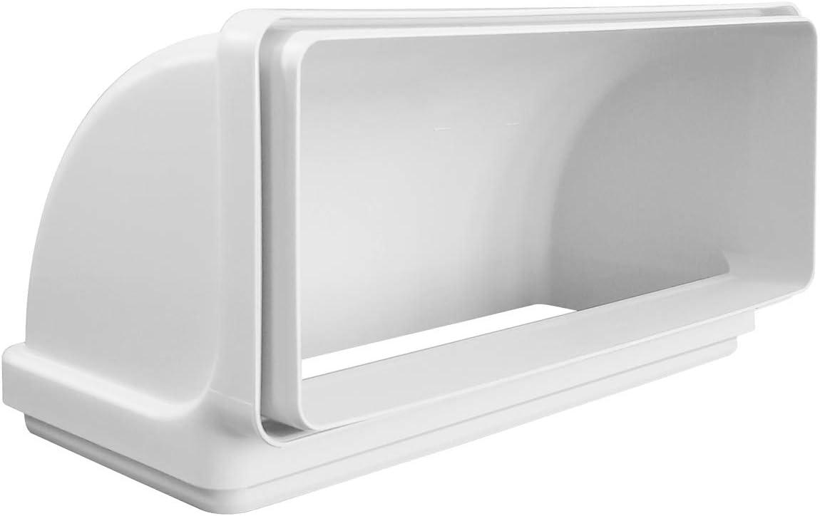 La ventilación CCV229B curva vertical 220 x 90 mm en ABS con embudos F/F para tubos rectangulares. Color blanco.