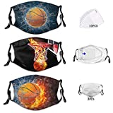 BZKIER Basketball dust-Proof face mask with Filter mask National Flag Fashion mask Washable and Reusable Unisex Black and White Windproof mask with Filter Bag 10 Filters
