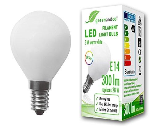 greenandco® CRI 90+ Glühfaden LED Lampe ersetzt 28 Watt E14 G45 Globe matt, 3W 300 Lumen 2700K warmweiß Filament Fadenlampe 360° 230V AC nur Glas, nicht dimmbar, flimmerfrei, 2 Jahre Garantie