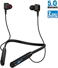 Bluetooth Headphones Neckband with Magnetic Earbuds, LISN V5.0 Sports Wireless Headsets with Noise Cancelling Mic Dual Drivers Hi-Fi Stereo In-ear Running Earphone Waterproof 8Hrs Playtime