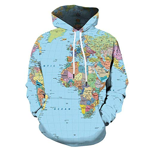 Simple Globe World Map Felpa Con Cappuccio Felpa 3D Giacca Sportiva Casual Stampata in Digitale-Color_S